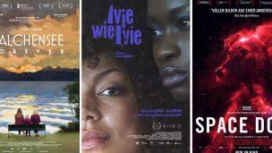 Drei Poster von für den Deutschen Filmpreis 2021 nominierten Filmen nebeneinander