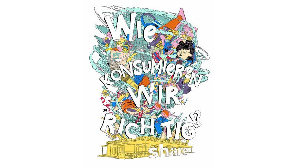 """Ein Cartoon Artwork stellt in Frage, wie wir richtig konsumieren, darunter das Logo von """"share"""""""